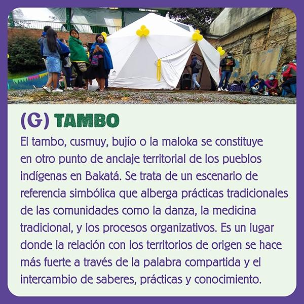 Imagen de la letra G TAMBO o la Maloka otro punto de encaje territorial de los pueblos indígenas en Bakatá.